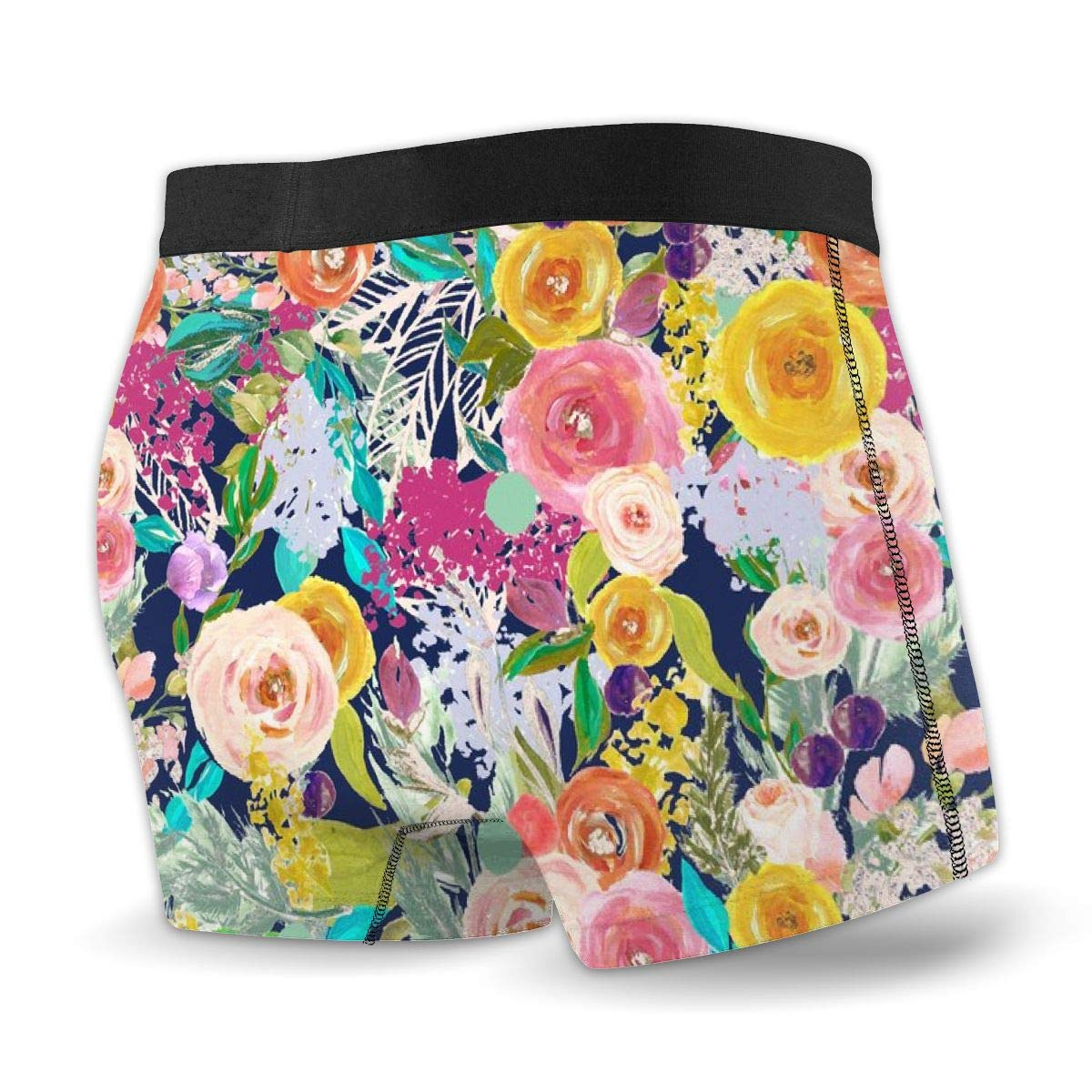 Mens no Ride-up Boxer Briefs,Autumn Blooms Painted Floral Navy /_814 Extra Large Print