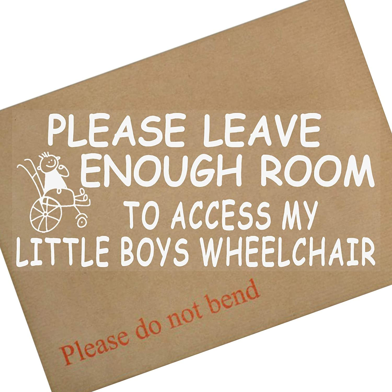 Platinum Place 1 x Please Allow Enough Room to Access My Little Boys Wheelchair-Window Sticker for Disabled Child-Car, Van, Truck, Vehicle.Disability, Scooter Self Adhesive Vinyl Sign Handicapped Logo