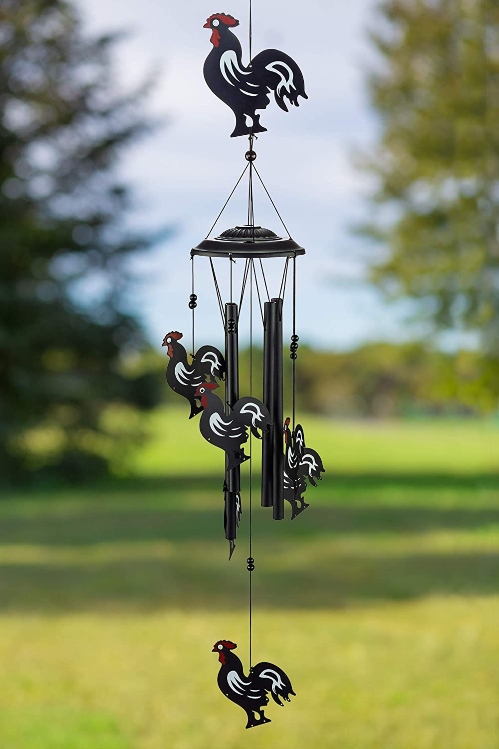 VP Home Rhythmic Roosters Outdoor Garden Decor Wind Chime