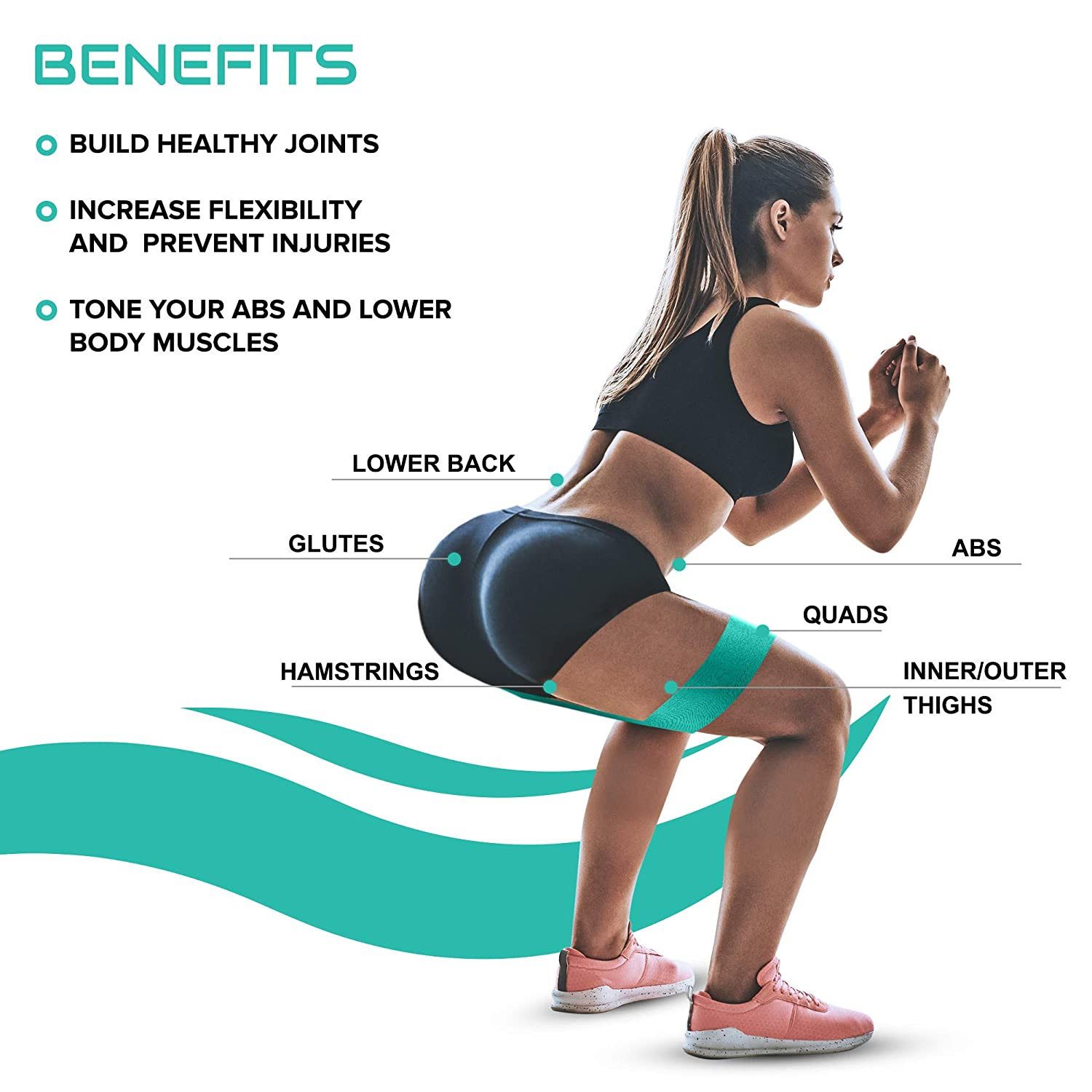 Victorem Resistance Booty Bands Set - Wide, Cloth Hip Bands with an  Exercise Training Guide
