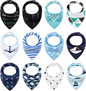 iZiv 4 PACK Baby Bandana Drool Bibs with Adjustable Snaps, Absorbent Soft Cotton Lining 0-2 Years (Color-5)