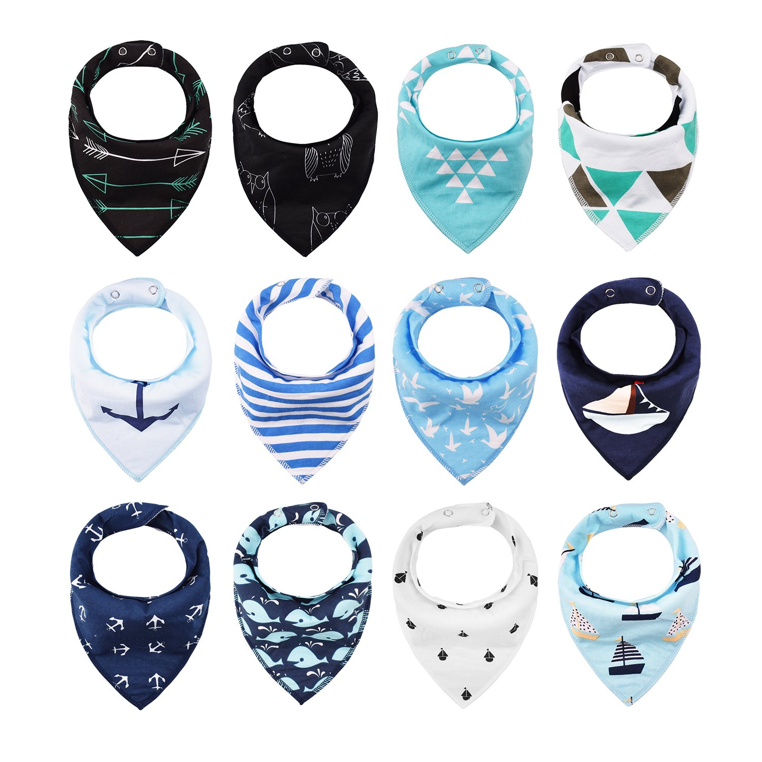 iZiv 4 PACK Baby Bandana Drool Bibs with Adjustable Snaps, Absorbent Soft Cotton Lining 0-2 Years (Color-1) Dlife TZN01