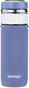Contigo Glass Water Bottle with a Quick-Twist Lid, 20 oz, Blue Corn