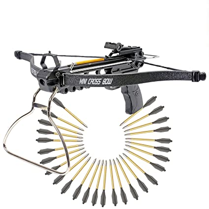 KingsArchery Crossbow Pistol with Bolt Rack Self-Cocking 80 LBS with  Adjustable Sights and a Total of 27 Aluminim Arrow Bolt Set Warranty