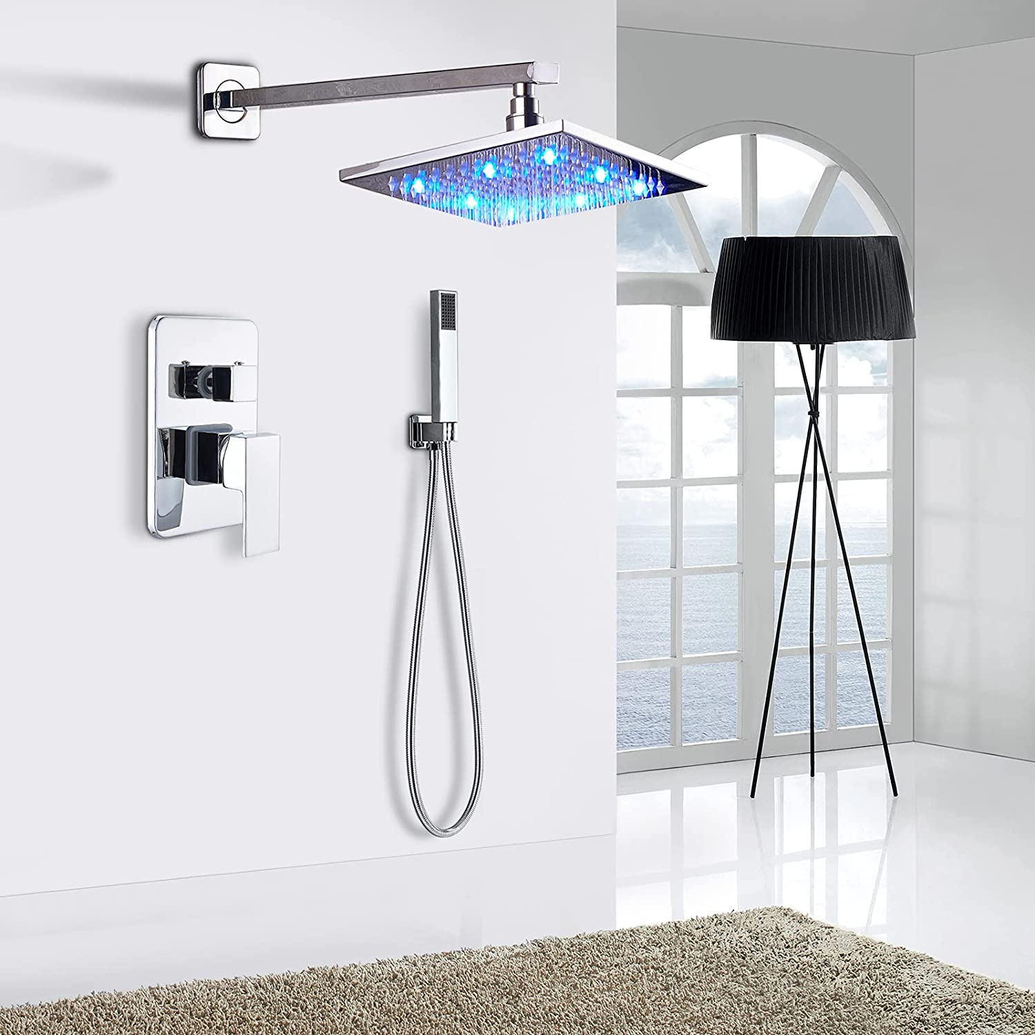 """Polished Chrome 8/"""" Rainfall Shower Faucet Wall Mounted Mixer Tap W// Hand Spray"""