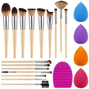 Syntus Makeup Brush Set, 16 Makeup Brushes & 4 Blender Sponges & 1 Brush Cleaner Premium Synthetic Foundation Powder Kabuki Blush Concealer Eye Shadow Natural Wooden Handle Makeup Brush Kit