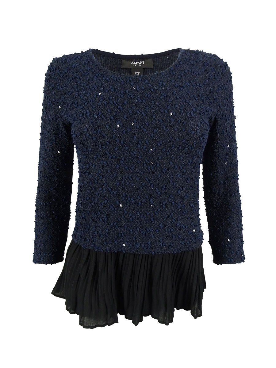 Alfani Womens Sequined 2Fer Pullover Top Navy PL