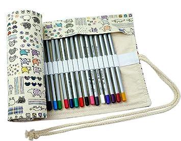 Amazon Com Creoogo Colored Pencils Case Wrap Roll Holder For