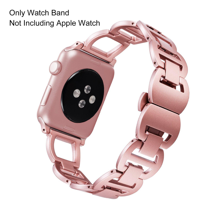 Apple Watch Banda, ibazal Apple correa de reloj correa de banda de acero inoxidable Iwatch correa de reemplazo banda correa con Crystal Rhinestone ...