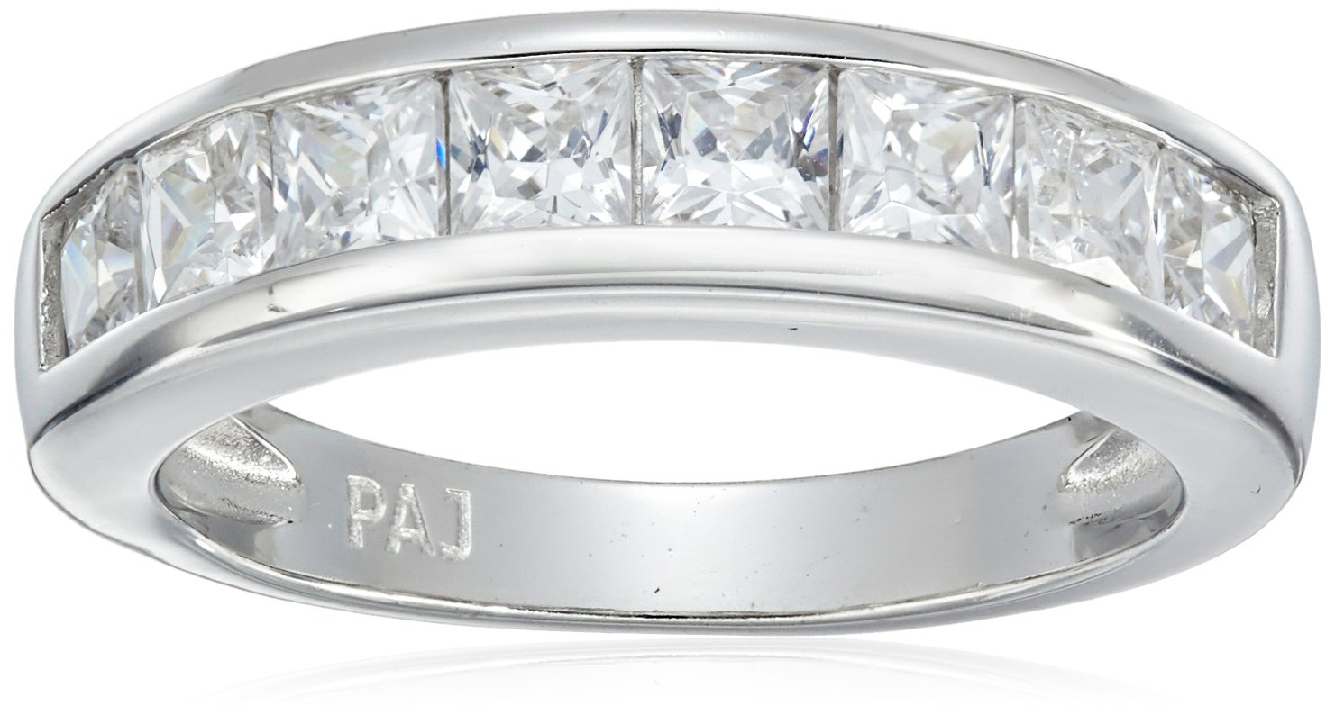 Platinum Plated Sterling Silver Princess Cut Cubic Zirconia Channel Set Ring, Size 7