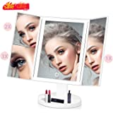 Makeup Vanity Mirror with Lights, 36 Led 2X/3X Magnification Trifold Makeup Mirror with Touch Screen wowatt LED Mirror Brightness Adjustable 180 ° Rotatable, Battery & USB Dual Power Supply (White)