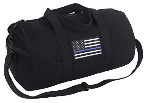 Amazon.com  Rothco Thin Blue Line Canvas Shoulder Duffle Bag  Sports ... 7e2cfb47d6f