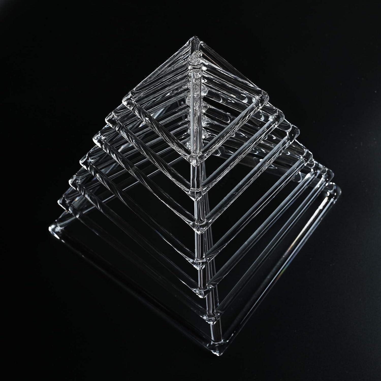 CVNC 4-10 Inch Set Of 7 PCS Healing Musical Insrument Quartz Crystal Singing Pyramid