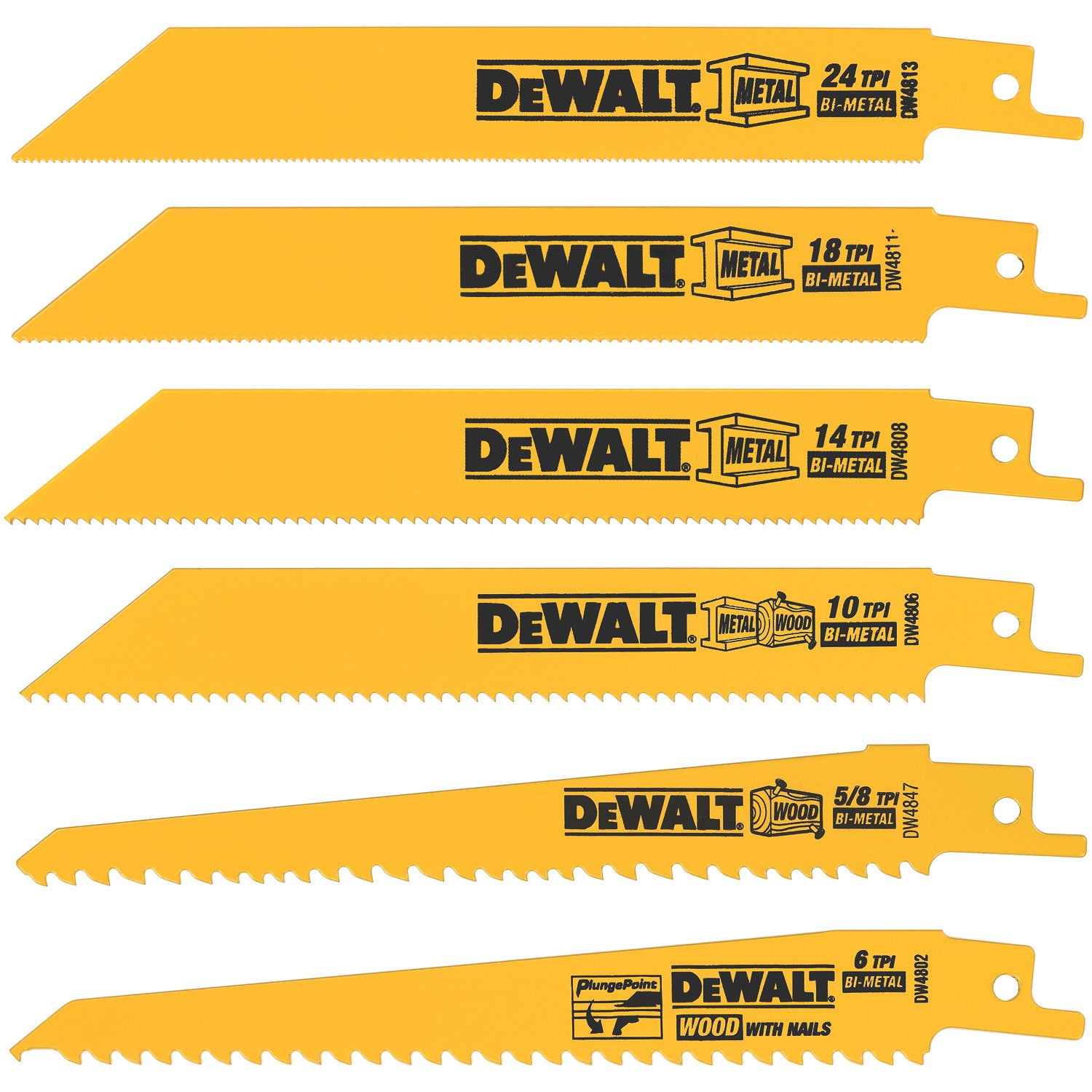 DEWALT DW4856 Metal/Woodcutting Reciprocating Saw Blade Set, 6-Piece