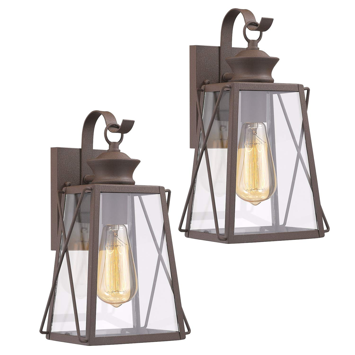 Emliviar Outdoor Wall Light Fixtures 2 Pack, Porch Light in Rustic Finish with Clear Glass Shade, 1810-CW1-2PK