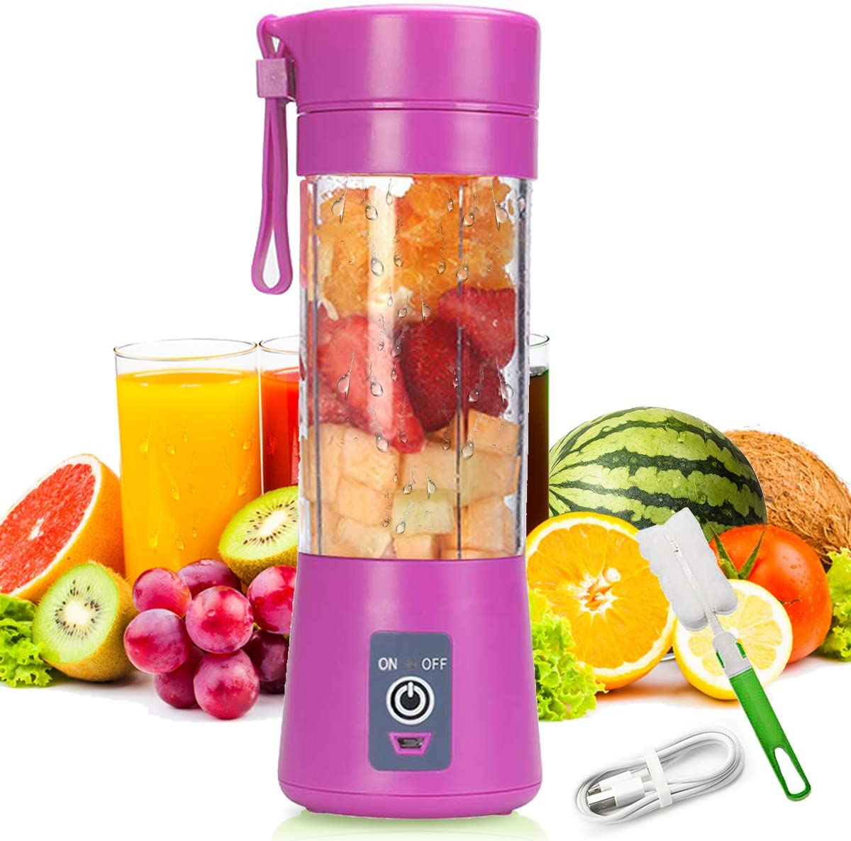 USB Rechargeable Creative Design Portable Blender, Personal Size Blender Shakes and Smoothies Juicer Cup-Six Blades in 3D,Handheld Fruit Machine (Purple)