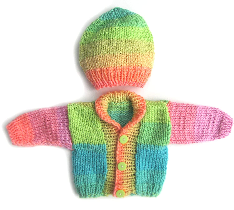 2804ca176 Amazon.com  KSS Handmade Retro Stripes Baby Sweater Cardigan with a ...