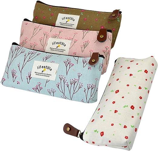 cupcinu 4 pcs lienzo flores patrón estuche para las niñas adolescentes cheap cute estuche neceser bolso de mano: Amazon.es: Hogar