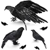 Halloween Crow Decorations 3 Pack, Realistic Handmade Black Feather Crows Prop Fly and Stand Crows Ravens for Outdoors…