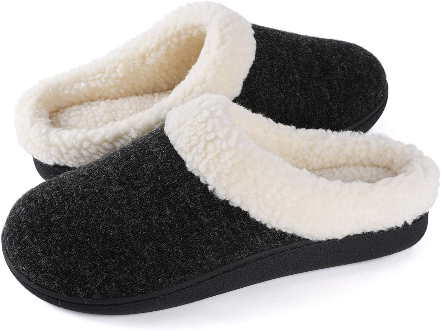 Outdoor Nonslip Rubber Sole Wishcotton Womens Cozy Memory Foam Slippers Fuzzy Wool-Like Plush Fleece Lined House Shoes w//Indoor