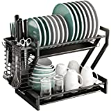 Dish Drying Rack, CGBE 2 Tier Dish Rack Stainless Steel with Utensil Knife Cup Holder and Cutting Board Holder Dish Drainer w