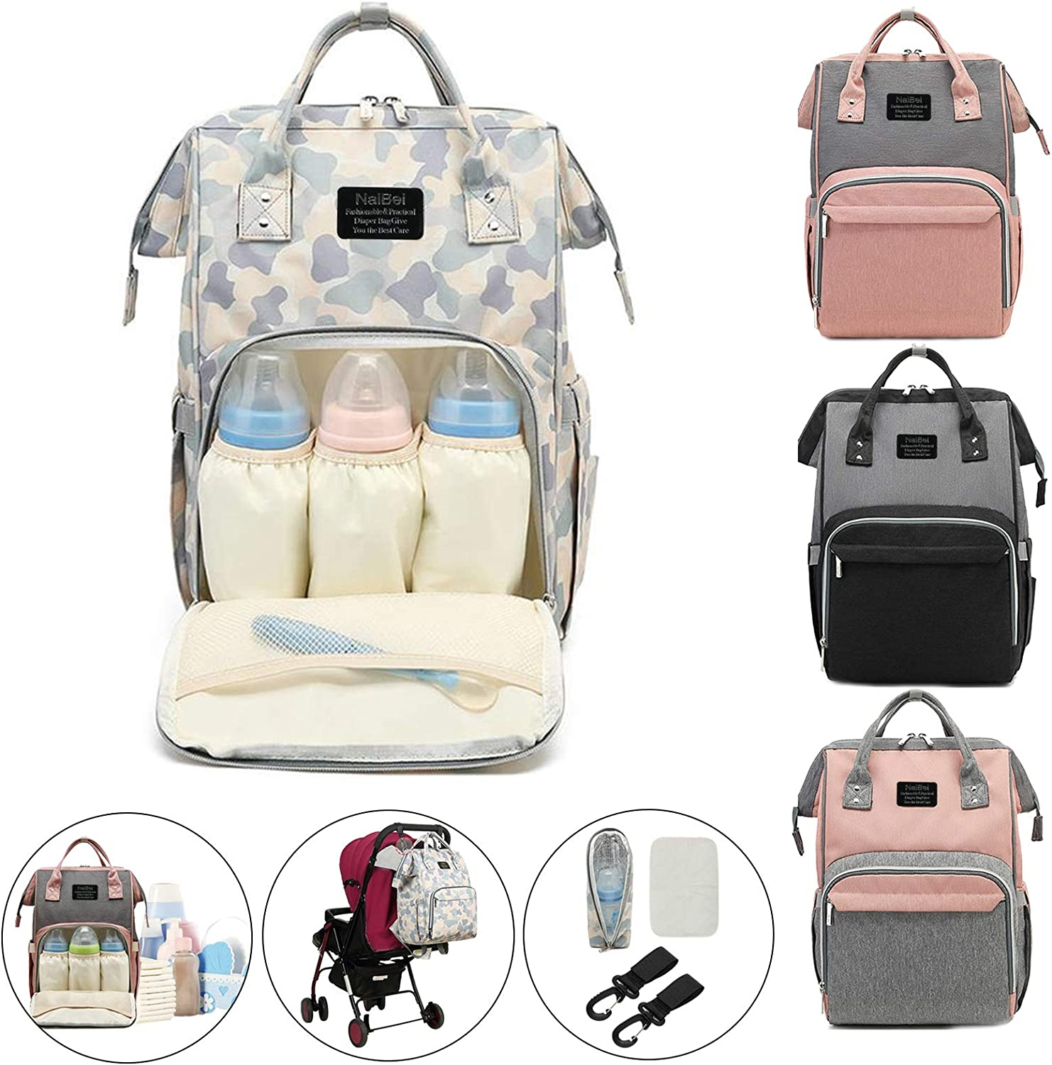 ColdShine Diaper Bag Nappy Changing Backpack Waterproof Multifunctional Mommy Nursing Bag Travel Backpack Large Capacity Tote Shoulder Organizer for Baby Care,Camouflage