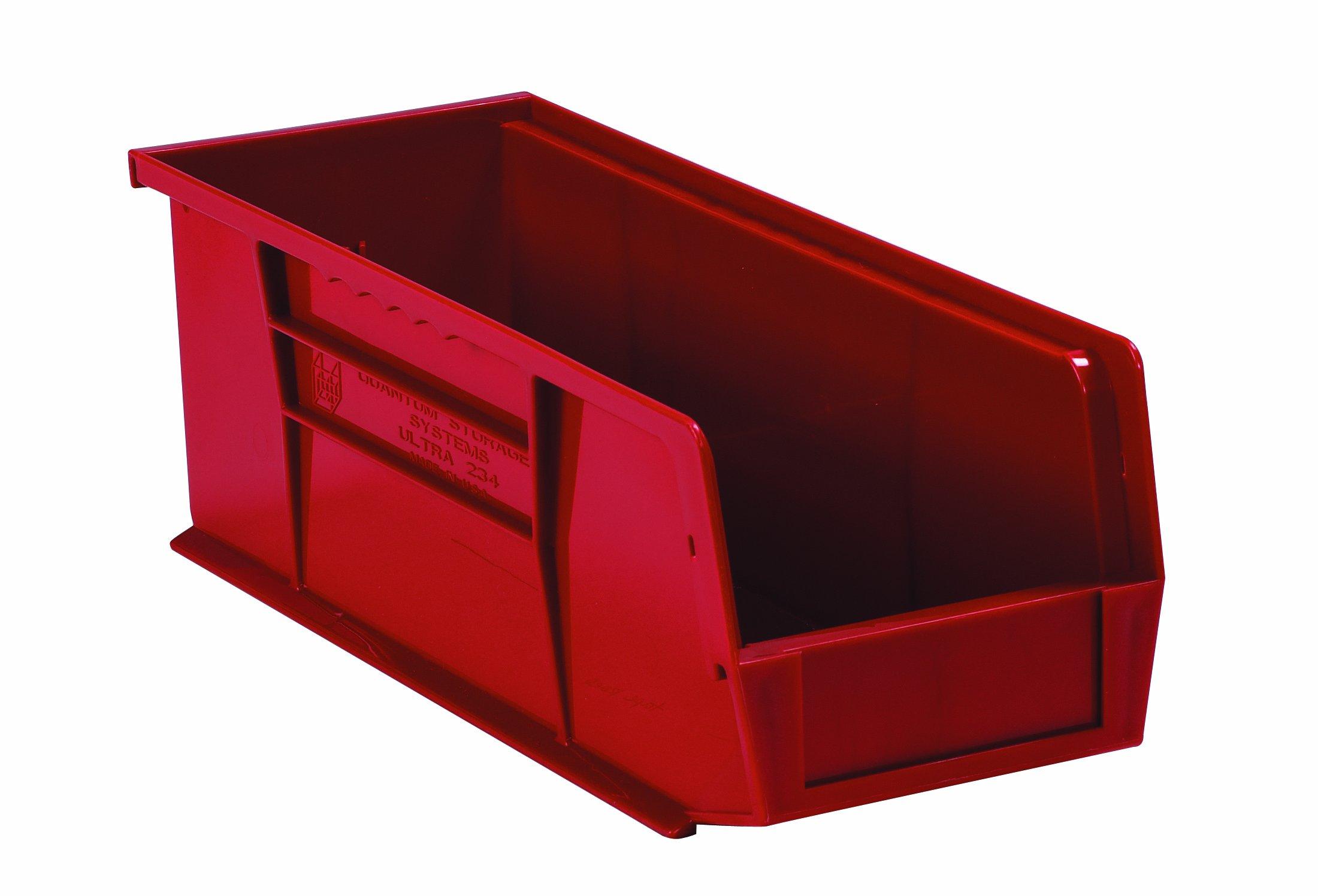 Aviditi BINP0543R Plastic Stack and Hang Bin Boxes, 5 3/8'' x 4 1/8'' x 3'' (Pack of 24)