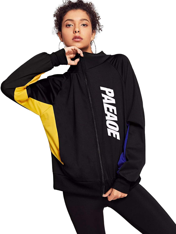 Black SweatyRocks Women's color Block Letter Print Zip up Bomber Jacket Coat