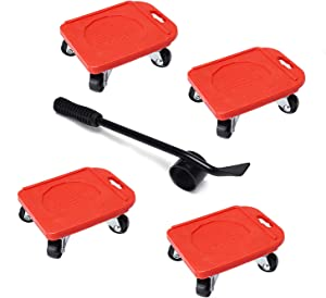 Upgraded Heavy Furniture Lifter & 4 Pcs Furniture Slides Kit, Mover Tool Set, Rubber Appliance Roller Suitable for Wood Floors Sofas/Couches/Refrigerators/Bed[Max Load Capacity:660lbs/300kg] (Red)