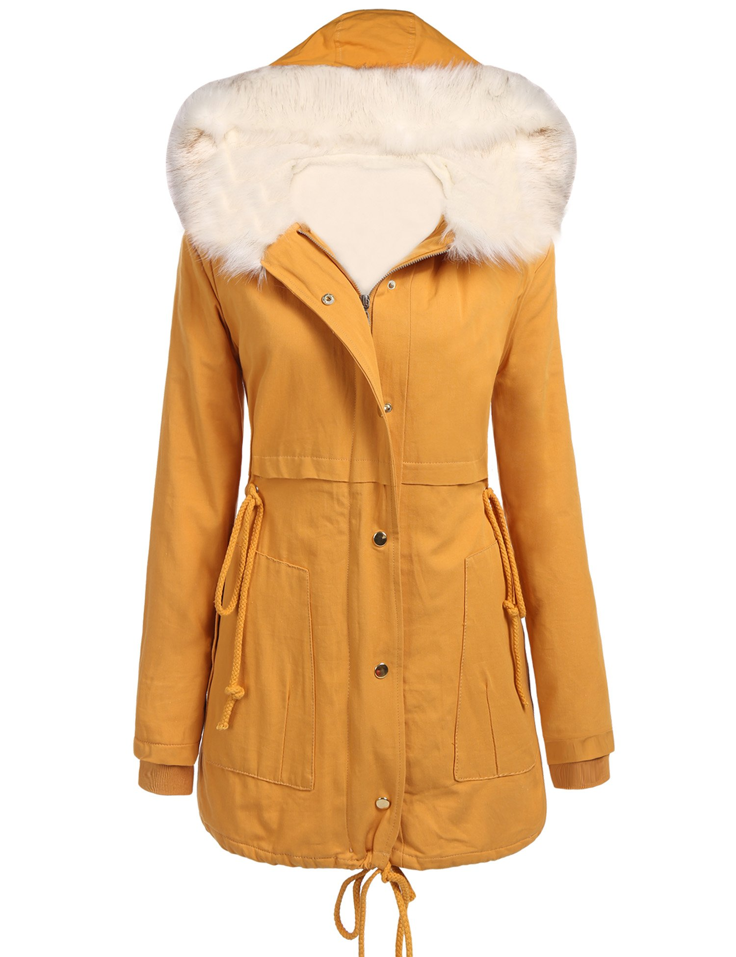 Beyove Womens Hooded Warm Coats Parkas With Faux Fur Jackets, Yellow, XX-Large