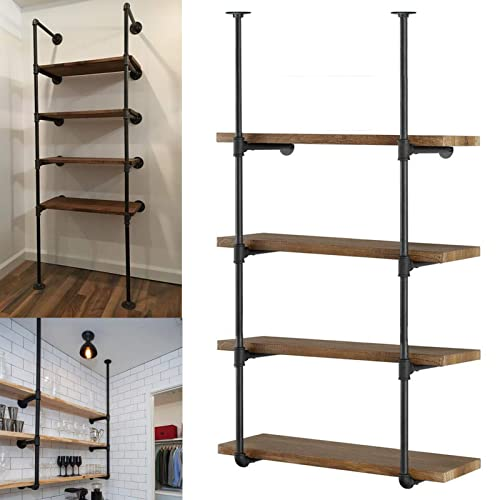 Yuanshikj 2Pc 56 tall 12 deep 3 4 Industrial Wall Mount iron Pipe Shelf Shelves Shelving Bracket Vintage Retro Black Open Bookshelf Bookcase DIY Storage office Kitchen 2 Pcs 4Tier Hardware only