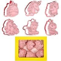 Orapink 6 Cortadores de Galletas de Unicornio con Sello de Plástico, Cortadores de Galletas,Formas para Niños,Cortadores…
