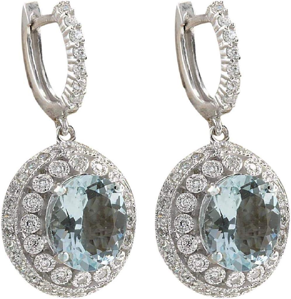GreatFun Moda Mujer Aguamarina Piedras Preciosas Nupcial oído Stud aro cuelga el Pendiente Perlas de imitación Lisa Mujeres Regalos Pendiente Pendiente Elegante joyería para Mujeres con Cristales