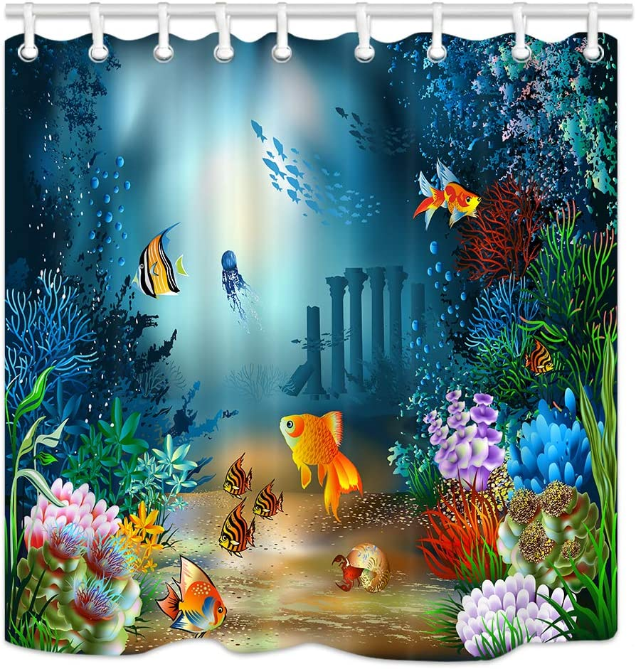 NYMB Ocean Animal Kids Shower Curtains, Underwater Sea Life Goldfishes in Coral Reef Flower,Polyester Fabric Waterproof Bathroom Curtains, Shower Curtain Hooks Included, 70X70in
