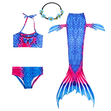 b4696c8e7a 2XDEALS Mermaid Swimming Tail for Kids Girls Mermaid Costume Child 4pcs  Mermaid Tail Kids Swimmable: Amazon.co.uk: Clothing