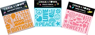 product image for Chalk of the Town Pack of 3 Plastic Stencils Set (3.5 x 5 Inch) Happy Birthday, Peace, and Candy