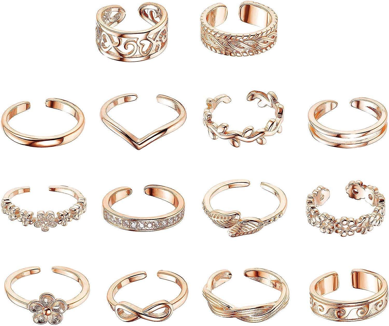 YADOCA 14 Pieces Vintage Phalange Bague pour Les Femmes Filles Boheme Midi Anneau Empilable Bague R/églable Bijoux de Cadeaux Set