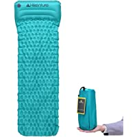 Ultralight Sleeping Mat by Hikenture - Camping Inflatable Sleeping Pad with Attached Inflatable Pillow - Compact and Moistureproof - for Hiking, Backpacking, Hammock,Tent(Blue,Orange,Purple)