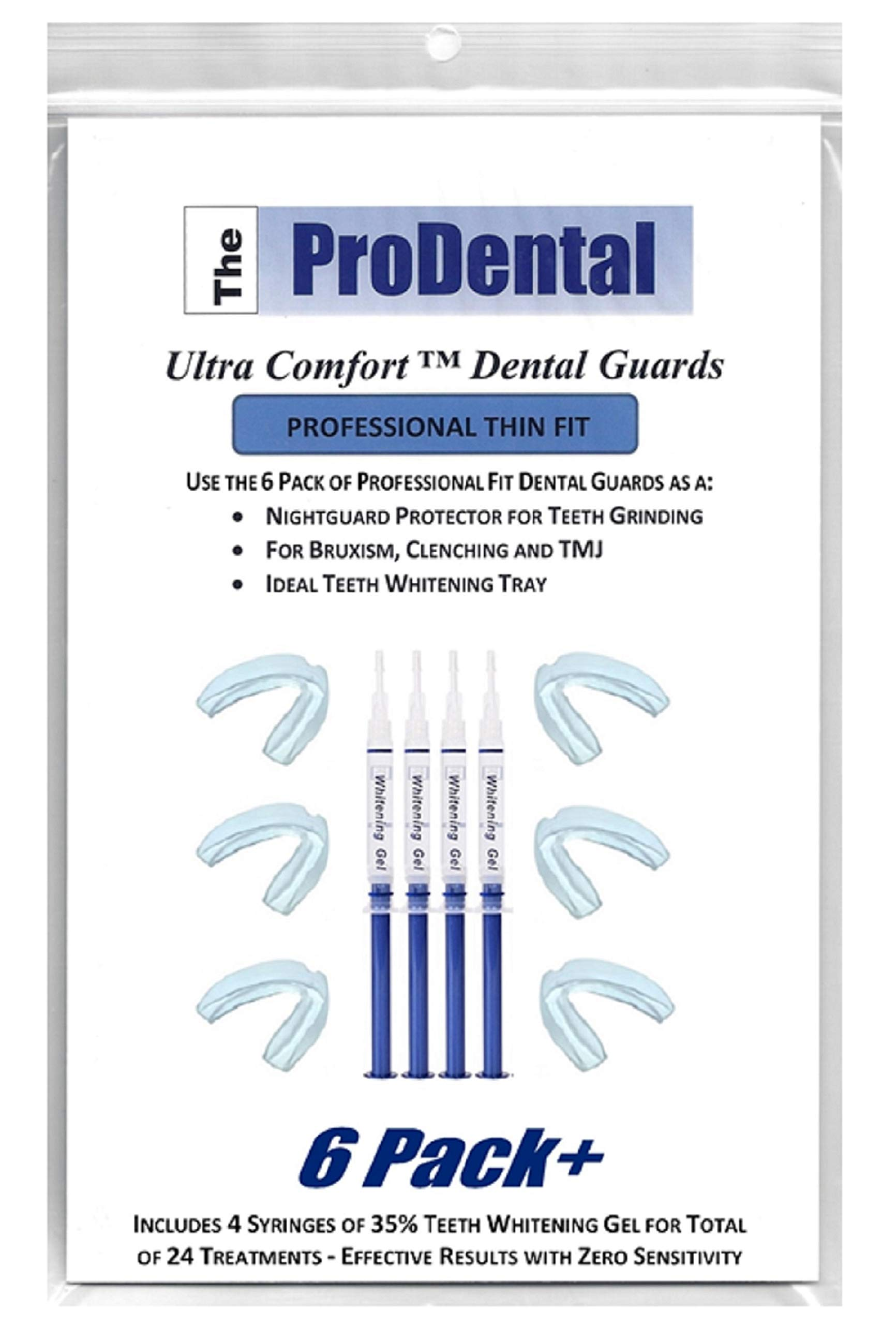 ProDental Thin & Trim Mouth Guard for Grinding Teeth - 6 Pack, USA Made | BONUS: Teeth Whitening Gel 4 Pack Included | Night Guard Stops Bruxism - Teeth Clenching | Customizable Dental Guard - No BPA by ProDental