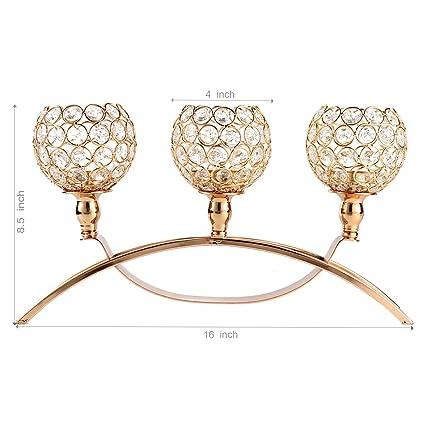 chictry 3 brazo candelabro cristal vela té luz Portavelas para boda fiesta decoraciones de mesa,