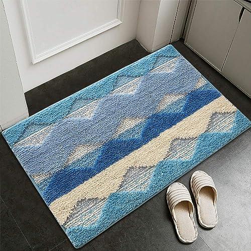Varma Indoor Doormat Absorbent Inside Front Door Mats Indoor Non Slip Rubber Back Entrance Door Rug Welcome Mats for Front Door, Machine Washable, Low-Profile, Blue, 20X32