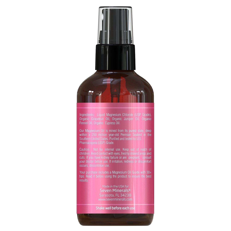 Tratamiento de Aerosol de Magnesio contra la Celulitis de Seven Minerals de 120ml | Mezcla de aceites 100% natural | Aceite de de pomelo orgánico, ...