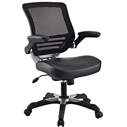 Modway Edge Mesh Back And Black Vinyl Seat Office Chair With Flip Up Arms