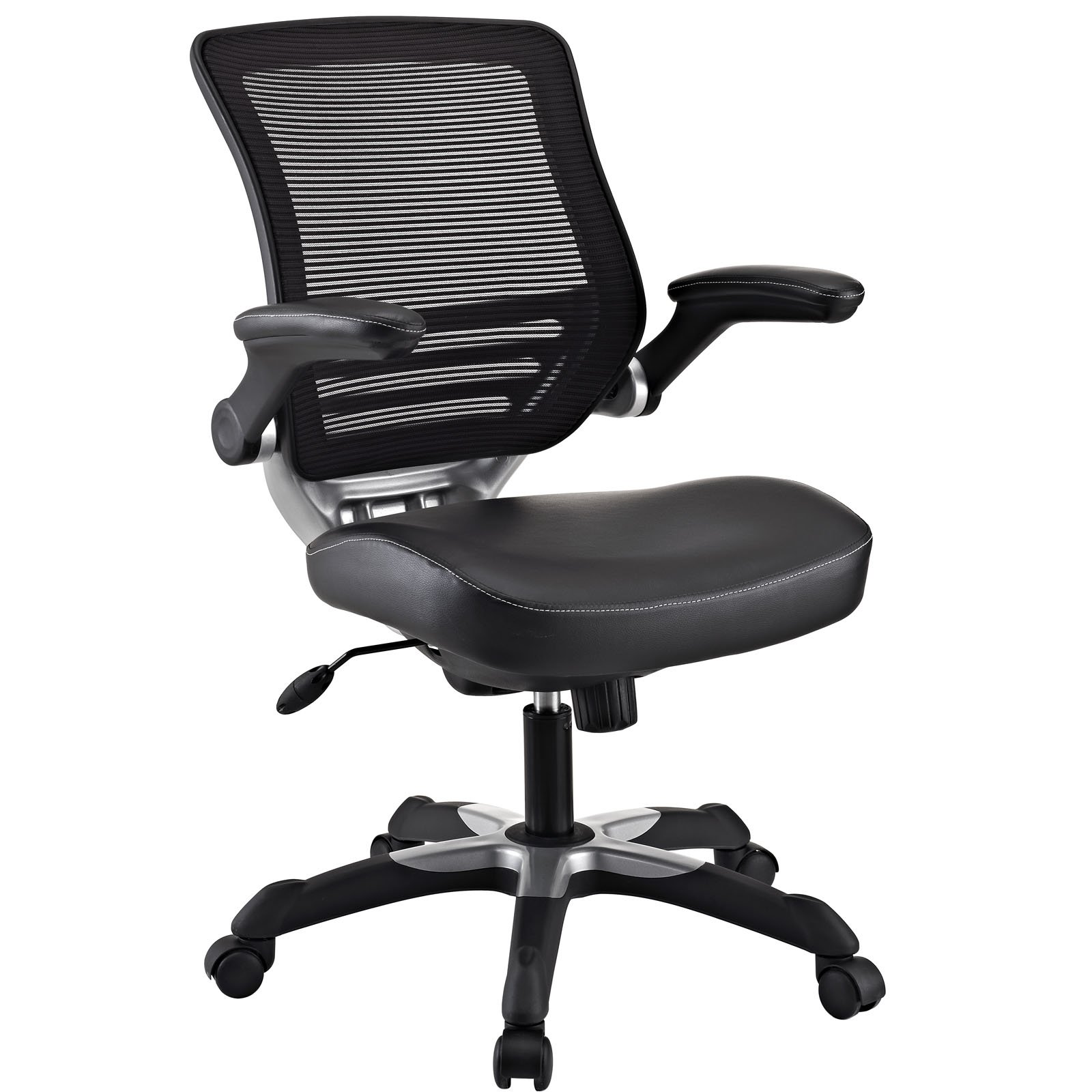 Modway Edge Mesh Back and Black Vinyl Seat Office Chair With Flip-Up Arms - Ergonomic Desk And Computer Chair by Modway