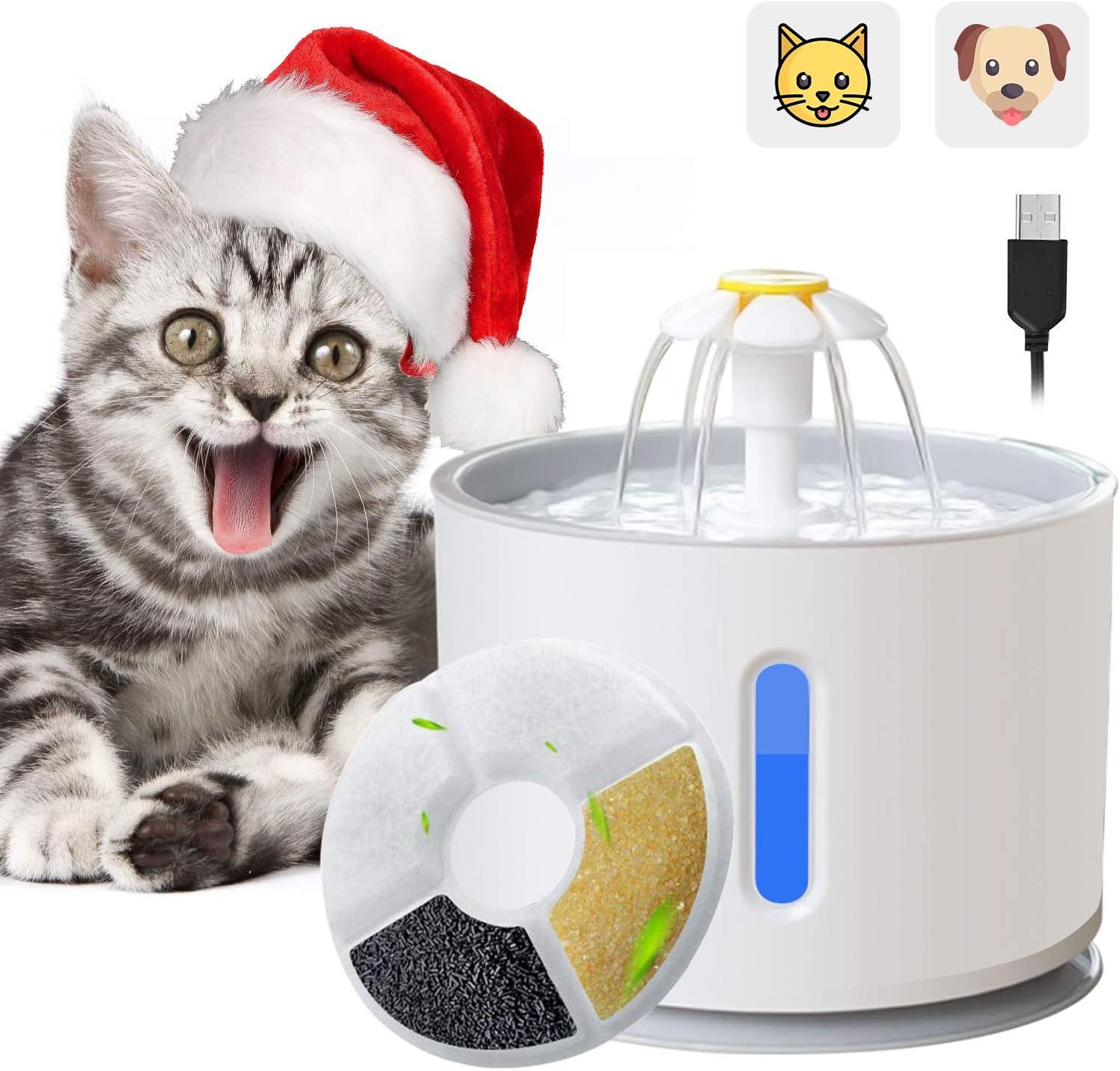 ADOV Fuente para Gatos, 2.4L Dispensador Automático de Agua Eléctrico con Luz LED, Filtro de Reemplazable y Adaptador USB, Flor Portátil Estilo Bebedero para Gatos, Perros y Pequeños Animales (Gris): Amazon.es: Productos