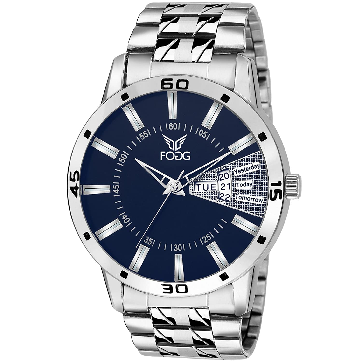 mens buy and at online analog india dial watch date low in band stainless blue fogg amazon dp bl prices steel day watches