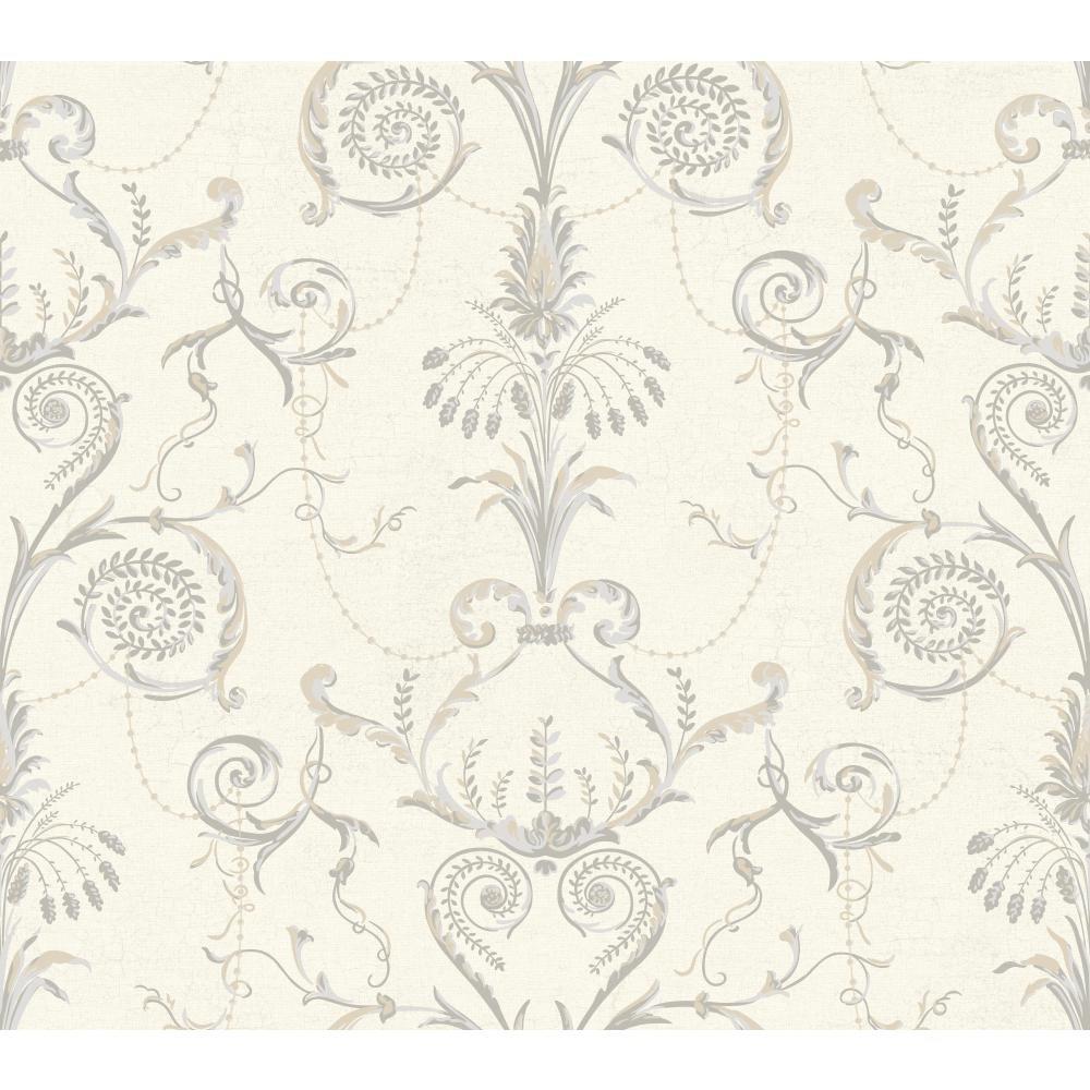 8 by 10-Inch Cream//Warm Tan//Light Gray//Medium Gray York Wallcoverings Black and White Neo Classic Damask Wallpaper Memo Sample