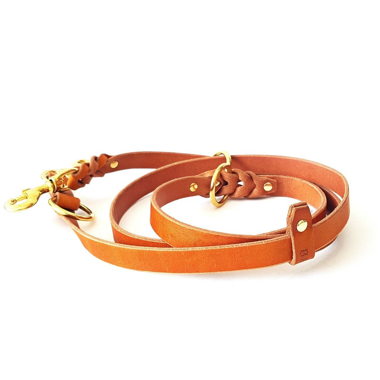 Brown Bestia 6 feet Dual snap Multi Purpose Leather Dog Leash. Heavy Duty & Ever Lasting, 10+ Different uses  Out of Thick but Soft Quality Buffalo Leather. Handmade in Europe