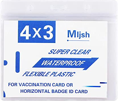 Resealable ID Badge Holder Card Protector Clear Vinyl Plastic Card Holder 5 Pack Large 4x3 Waterproof Card Sleeve