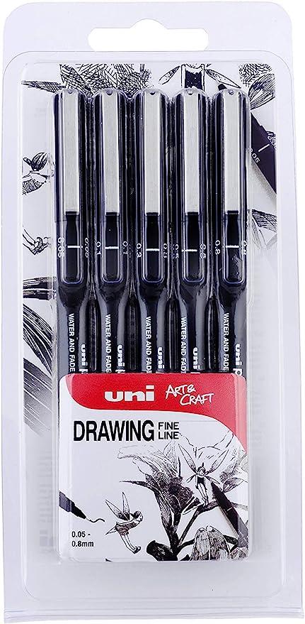 Uni-Ball Pin Fineliner Drawing Pen Set of 5 0.1, 0.2, 0.3, 0.5 /& 0.8mm Black
